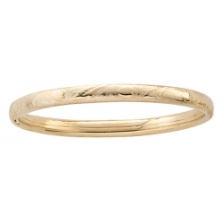 14k Gold Filled 5 3 4 In Children s  Heart   Floral  Bangle Bracelet