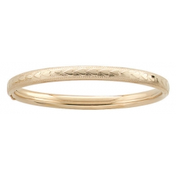 14k Gold Filled 5 3 4 In Children s  Heart   Milgrain  Bangle Bracelet