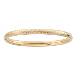 14k Gold Filled 6 1 4 In Kid s  Heart   Milgrain  Bangle Bracelet