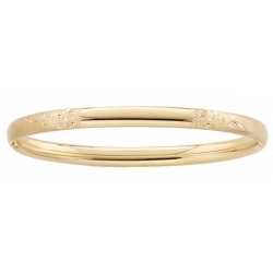 14k Gold Filled 6 1 4 In Kid s  Floral  Engraveable Bangle Bracelet