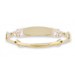 14 K Gold Filled Kid s  Pink Enamel Floral  Adjustable Bangle