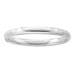 Sterling Silver Infant s  Floral  Bangle Bracelet