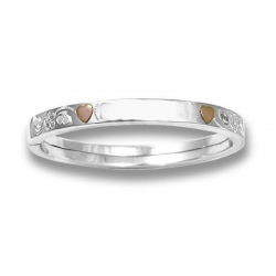 Sterling Silver Children s with 14KT Rose Gold Hearts Bangle Bracelet