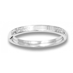 Sterling Silver Children s  Diamond Cut   Floral  Bangle Bracelet