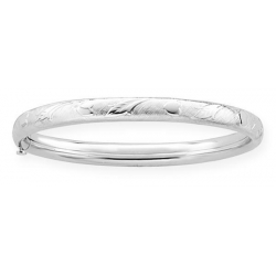 Sterling Silver Children s  Heart   Leaf  Bangle Bracelet