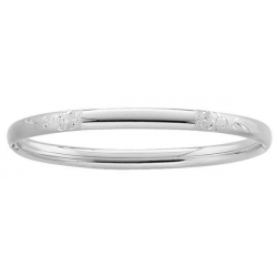 Sterling Silver Children  Floral  Bangle Bracelet