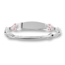 Sterling Silver  Pink Enamel Forget Me Not  Adjustable Bangle Bracelet