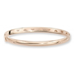 14KT Yellow Gold Children s  Heart   Bangle Bracelet