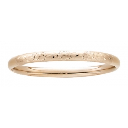 14KT Yellow Gold  Teen s  Floral  Hand Engraved Bangle Bracelet