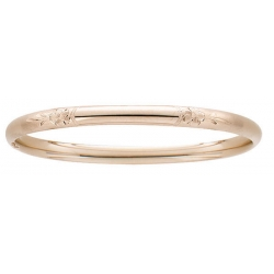 14KT Yellow Gold  Children s  Floral  Hand Engraved Bangle Bracelet