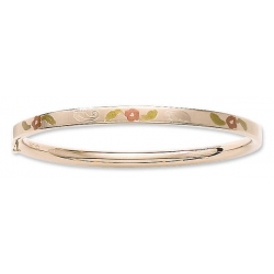 14KT Yellow Gold  Children s Tri Color  Floral  Bangle Bracelet