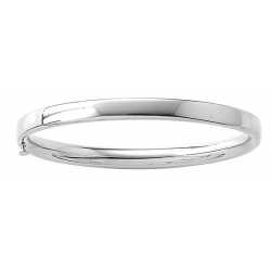 14KT White Gold Infant s Plain High Polished Bangle Bracelet