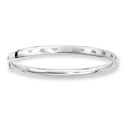 14KT White Gold Children s  Heart  Bangle Bracelet