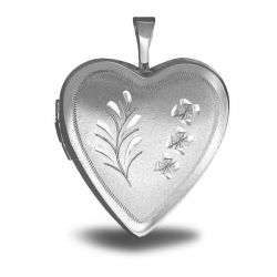 Sterling Silver Heart  Floral  Locket