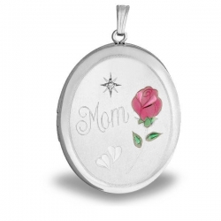 Sterling Silver  MOM  w  Enamel Flower  Oval Locket