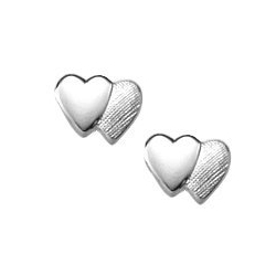 Sterling Silver Children s  Double Heart  Post Earrings