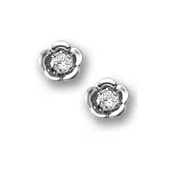 Sterling Silver Children s  Flower  Cubic Zirconia Post Earrings
