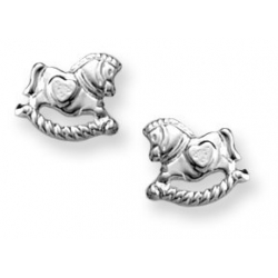 Sterling Silver Children s  Rocking Horse   Post Earrings