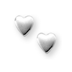 Sterling Silver Children s  Plain Heart   Post Earrings