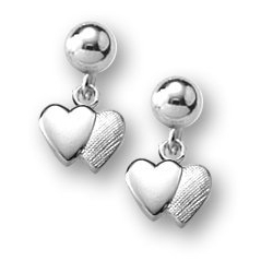 Sterling Silver Children s  Double Heart   Dangle  Earrings