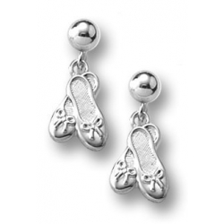 Sterling Silver Children s  Ballet Slippers   Dangle  Earrings