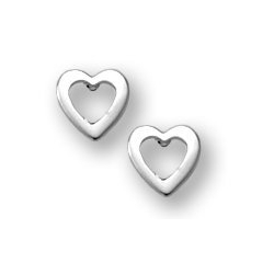Sterling Silver Children s  Open Heart  Post Earrings
