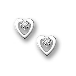 Sterling Silver Children s Open Heart Post Earrings w  Cubic Zirconia