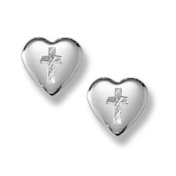 Sterling Silver Children s  Heart Cross  Post Earrings