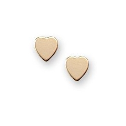 14K Yellow Gold Children s  Plain Heart  Earrings