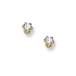 14K Yellow Gold Children s Stud Earrings with Cubic Zirconia