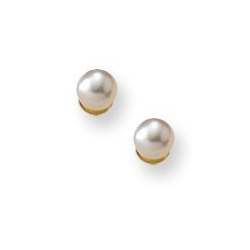 14K Yellow Gold Children s Pearl Earrings