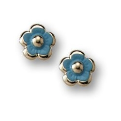 14K Yellow Gold Children s  Enamel  Flower  Post Earrings