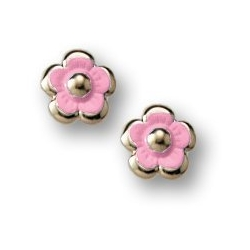 14K Yellow Gold Children s  Pink Enamel   Flower  Post Earrings