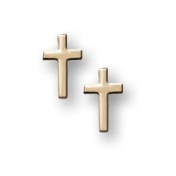 14K Yellow Gold Children s   Cross  Post Earrings
