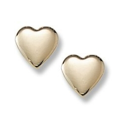 14K Yellow Gold Children s  Heart  Safety Back Earrings