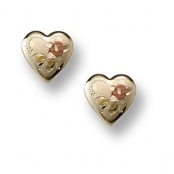 14K Yellow Gold Children s Tri Color Floral Heart Safety Back Earrings