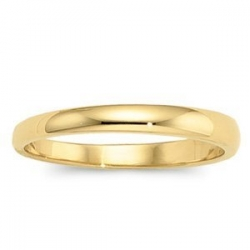 14k Yellow Gold 3mm Half Round Tapered Series Wedding Band
