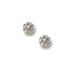 14K Yellow Gold Children s Two Tone Stud Earrings with Diamond