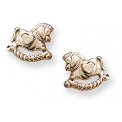 14K Yellow Gold Children s  Horse  Safety Back Earrings