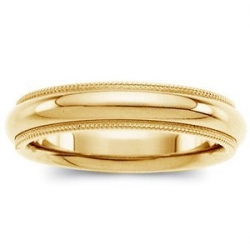 14k Yellow Gold 4mm Milgrain Comfort Wedding Band