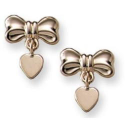 14K Yellow Gold Children s  Bow  with a Dangle Heart Earring