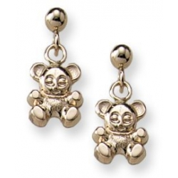 14K Yellow Gold Children s  Teddy Bear  Safety Post Earrings