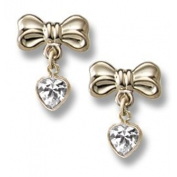 14K Yellow Gold Children s  Bow  CZ Heart Dangle Earrings
