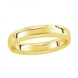14k Yellow Gold 5mm Beveled Edge Wedding Band