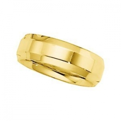 14k Yellow Gold 6mm Beveled Edge Wedding Band