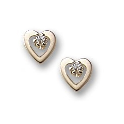 14K Yellow Gold Children s Open Style Heart Earrings w  Cubic Zirconia