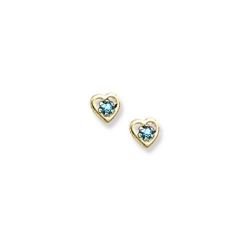 14K Yellow Gold Child s Genuine Aquamarine Birthstone Heart Earrings
