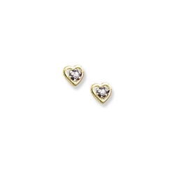 14K Yellow Gold Child s Genuine White Topaz Birthstone Heart Earrings