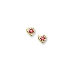 14K Yellow Gold Child s Genuine Ruby Birthstone Heart Earrings