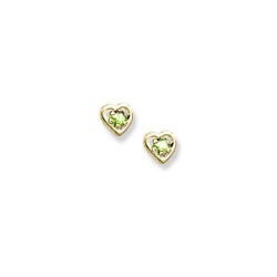 14K Yellow Gold Child s Genuine Peridot Birthstone Heart Earrings